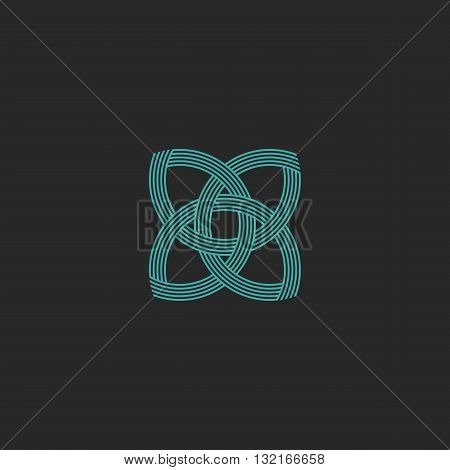 Turquoise Crossing Lines Shape Lotus Logo Yoga Meditation Symbol, Beauty Salon Sacred Geometry Emble
