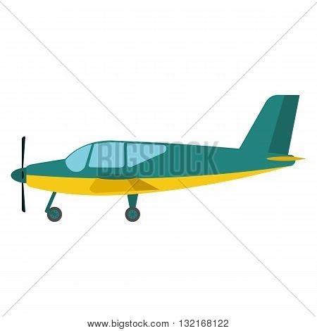 Light aircraft vector illustration. Green Light aircraft on white background. Light aircraft vector. Aircraft illustration. Light aircraft isolated vector