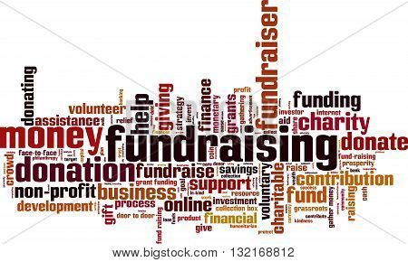 Fundraising word cloud concept. Vector illustration on white
