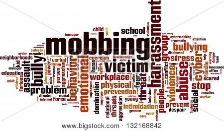 Mobbing word cloud concept. Vector illustration on white