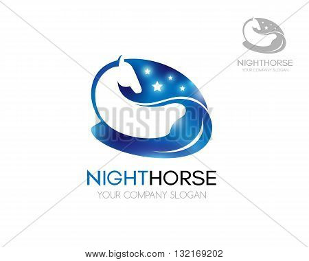 Horse logo. Blue horse with shiny stars. Logo vector template of blue horse on a white background