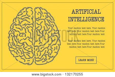 Concept banner illustration of a human brain formed out of binary code digits. Artificial intelligence hi-tech and IT themed customizable template, replace text to personalize.