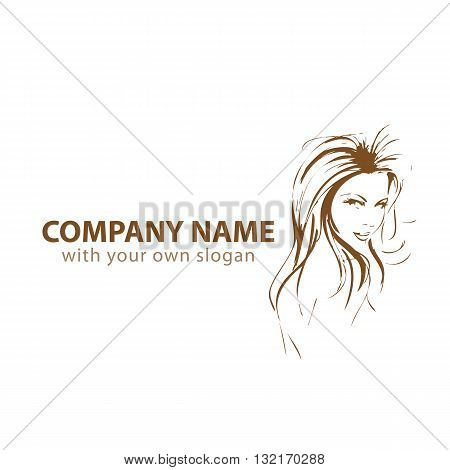 a silhouette of a female head on a corporate