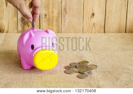 savings money with hand putting coin into piggy bank