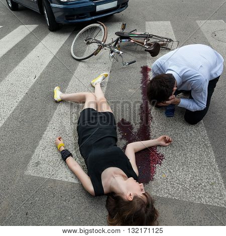 Woman killed by car on the street poster