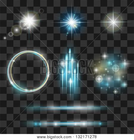 Glow light effect collection. Lens flares beams flashes starbursts sparkles on transparent background. Vector eps 10 illustration.