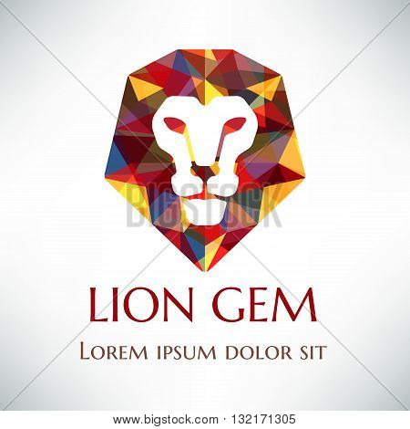 Crystal lion logo design. Lion face with gemmed mane. Logotype concept icon.