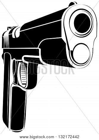 Pistol 1911 gun fire. 45 caliber. Pistol emblem logo. Criminal arm pistol gun and danger military weapon. poster