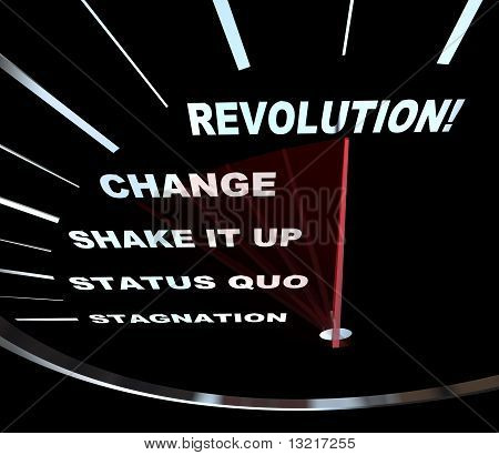 Speedometer with needle racing through the words Revolution Change Shake it Up Status Quo and Stagnation poster