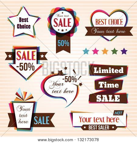 Set of sale tags in retro style