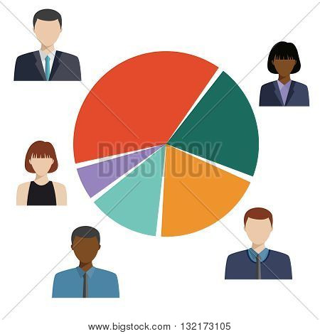 Circle Pie Diagram, People Social Media Marketing, Target Group Audience, Demographic Statistic Information.