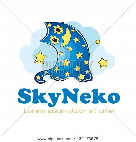 Cartoon nightsky cat logo design. Baby and children products logotype concept icon.