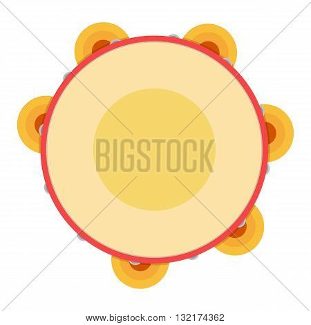 Tambourine vector illustration. Tambourine on white background. Illustration object musical instrument tambourine samba.