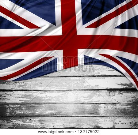 Union Jack flag on wooden boards