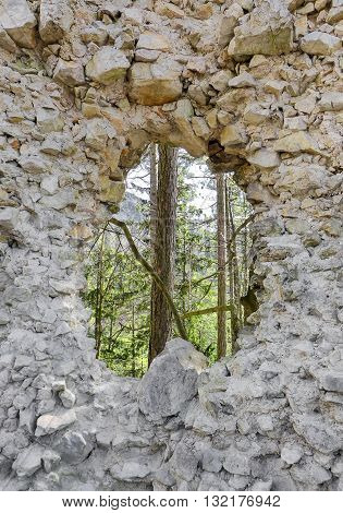Ruins of medieval Blacnicky castle at Slovakia