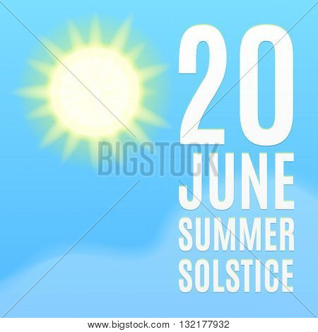 Summer solstice poster. Sun, sky and cloud. Vector, eps10.