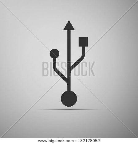 USB symbol on gray background. Vector Illustration.
