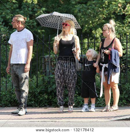 LONDON, UK - AUGUST 1, 2013: Gwen Stefani , Gavin Rosedale , Kingston Rossdale seen out and about in Primrose Hill