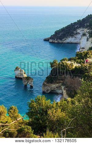 Baia dei Mergoli beach .MATTINATA (Apulia), - ITALY-Also known 'Baia Delle Zagare' (Orange flowers bay),the beach is one of the most renowned seaside resort in the Gargano's promontory.