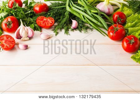 Fresh vegetables background place for text. Healthy eating concept. Vegetarian food. Healthy eating. Ripe vegetables. Fresh vegetables.