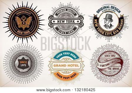 Vintage logo templates, Hotel, Restaurant, Business or Boutique Identity. Design with Flourishes Elegant Design Elements.Vector layered