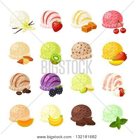 Set of cartoon food: ice cream with different flavours - vanilla, strawberry, caramel, cherry, banana, kiwi, mango, coffee, blackberry, chocolate and so. Vector illustration, isolated on white.