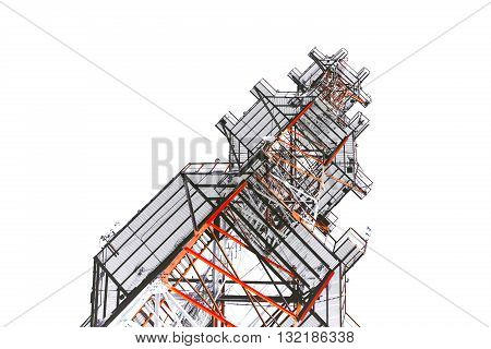 Telecommunications antenna tower for radio, television and telephony