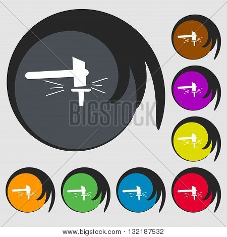 The Smithy. Forge And Stithy, Blacksmith Sign Icon. Symbols On Eight Colored Buttons. Vector