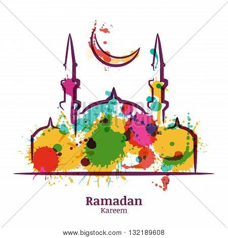 Ramadan Kareem Greeting Card With Watercolor Illustration Of Mosque And Moon. Vector Ramadan Holiday
