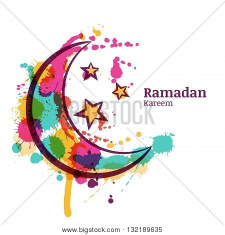 Ramadan Greeting Card With Watercolor Decorative Moon And Stars. Ramadan Kareem. Design Concept For