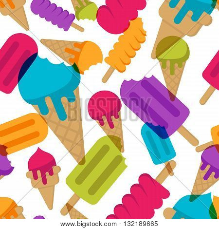 Vector Seamless Summer Pattern With Multicolor Ice Cream. Cones Ice Cream And Ice Lolly On White Bac