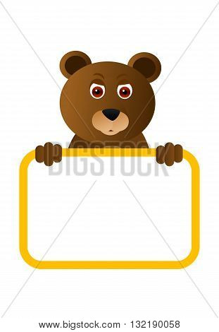 Wild animal brown bear with blank board.