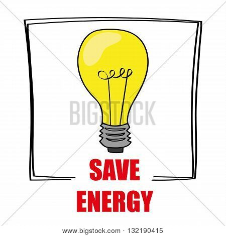 Retro style light bulb is glowing yellow above the words Save Energy as a reminder to reduce your costs for utilities