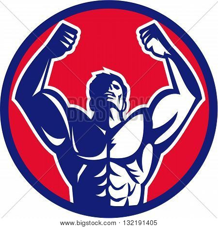 Illustration of a male body builder flexing muscles looking up viewed from front set inside circle on isolated background done in retro style.
