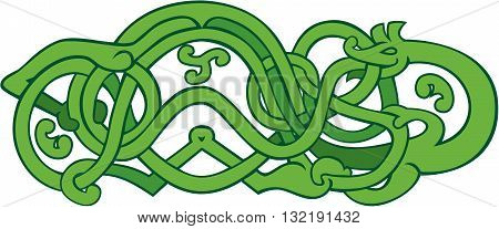 Illustration of an urnes snake with exended stomach on isolated background done in retro style.