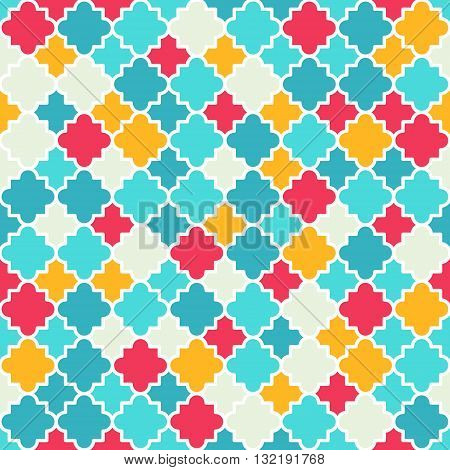Traditional quatrefoil lattice pattern. Colorful quatrefoil shapes bright colors - red turquoise yellow. Seamless vector background.