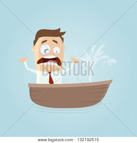 funny businessman in a boat with a leak