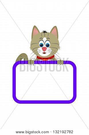Cute little cat with a blank board.
