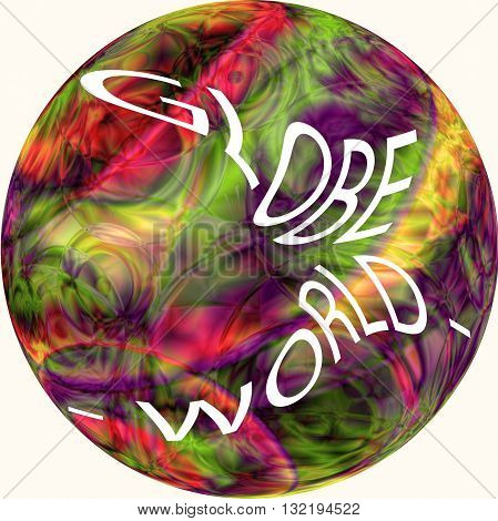 Globe world - isolated, on the abstract coloring gradients background with visual lise effect