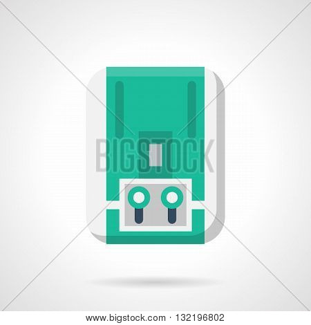 Gas equipment for water heating or boiling. Household appliances, climatic technics. Green heater with two switches and display. Single flat color design vector icon.