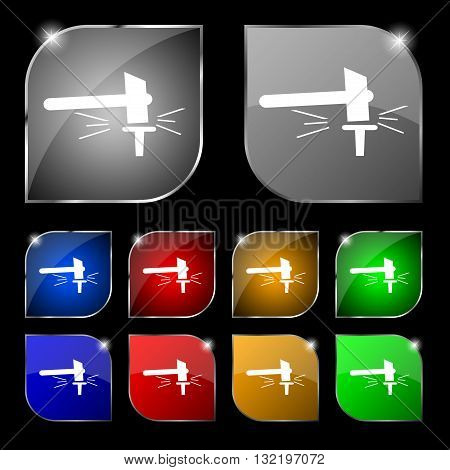 The Smithy. Forge And Stithy, Blacksmith Icon Sign. Set Of Ten Colorful Buttons With Glare. Vector
