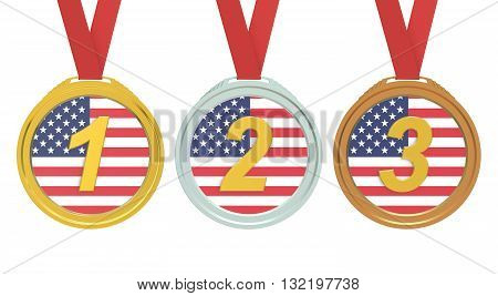 Gold Silver and Bronze medals with USA flag 3D rendering isolated on white background