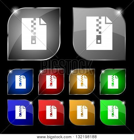 Computer Zip Folder, Archive Icon Sign. Set Of Ten Colorful Buttons With Glare. Vector