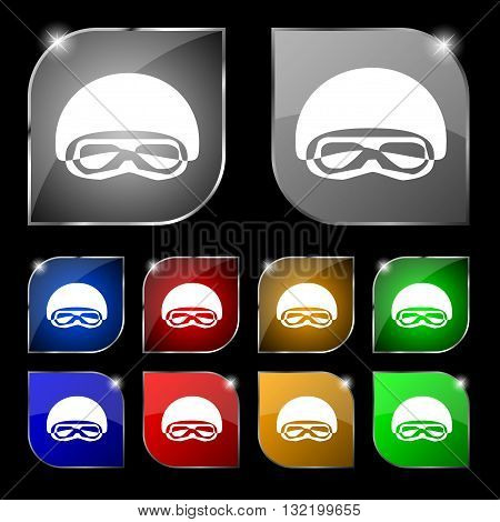 In A Ski Masks, Snowboard Ski Goggles, Diving Mask Icon Sign. Set Of Ten Colorful Buttons With Glare
