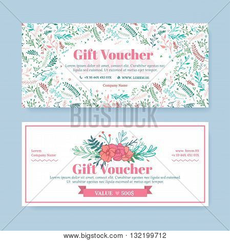 Gift certificate delicate painted vector photo bigstock gift certificate with delicate painted flowers in boho style business floral card template the yadclub Images