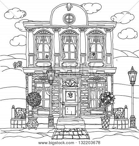 Contoured Black and white illustration of a house with details for adult coloring book or for zen art therapy anti stress drawing. Hand-drawn, vector, very detailed, for coloring, poster design.