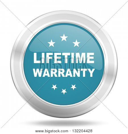 lifetime warranty icon, blue round metallic glossy button, web and mobile app design illustration