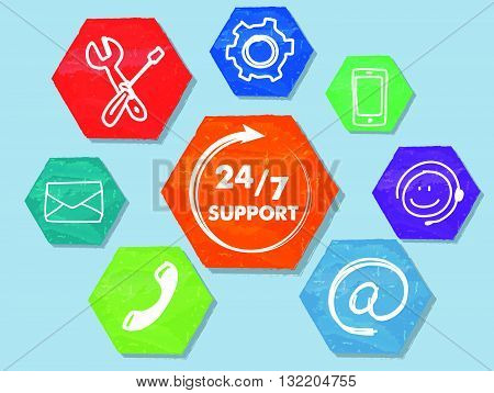 24/7 support with signs, colorful grunge drawn flat design hexagons labels with network symbols, business technical attendance concept banner, vector