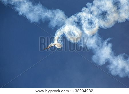 Chisinau Moldova - September 20 2014: Show Plane at an Air Show background
