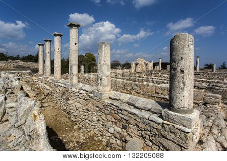 Paphos Cyprus - April 20 2015:The Sanctuary of Apollo Hylates Cyprus. The sanctuary is located about 25 kilometres west of the ancient town of Kourion along the road which leads to Pafos.